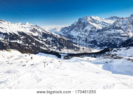Jungfrau ski resort in Swiss Alps with famous Eiger Monch and Jungfrau mountain Grindelwald Berner Oberland Grindelwald Switzerland.