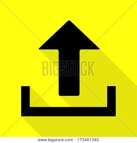 Upload sign illustration. Black icon with flat style shadow path on yellow background.