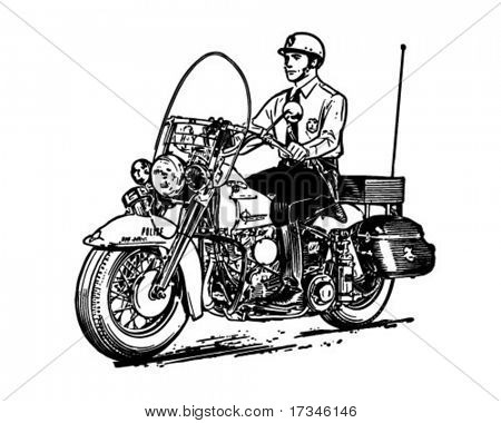 Motorcycle Cop - Retro Clip Art