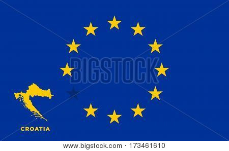 Referendum of the Croatia membership of the European Union. EU flag with the country of Croatia. The concept of leaving EU. Vector illustration