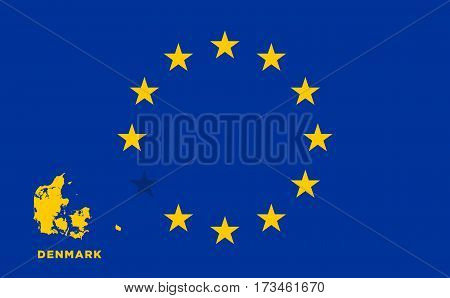 Referendum of the Denmark membership of the European Union. EU flag with the country of Denmark. The concept of leaving EU. Vector illustration