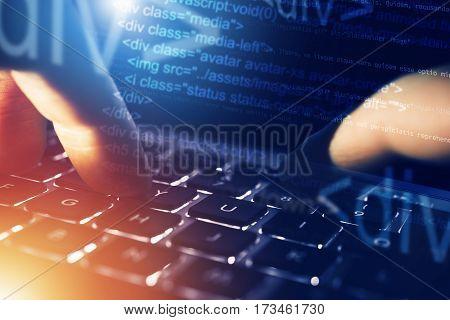 Web Programming Workstation. Website Developer Concept. Internet and Marketing.