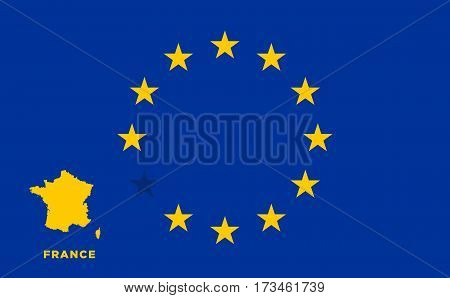 Referendum of the France membership of the European Union. EU flag with the country of France. The concept of leaving EU. Vector illustration