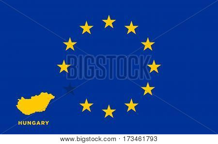 Referendum of the Hungary membership of the European Union. EU flag with the country of Hungary. The concept of leaving EU. Vector illustration