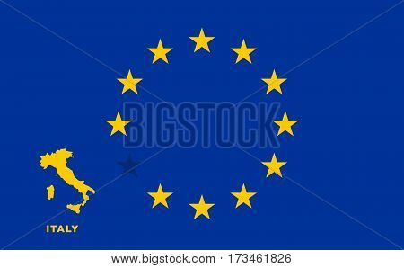 Referendum of the Italy membership of the European Union. EU flag with the country of Italy. The concept of leaving EU. Vector illustration