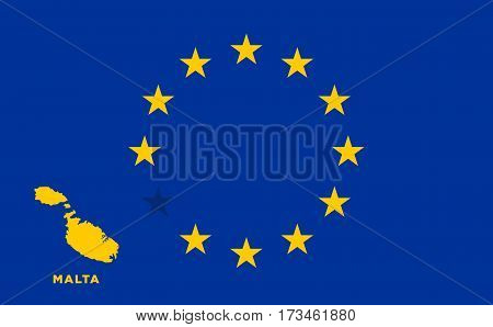 Referendum of the Malta membership of the European Union. EU flag with the country of Malta. The concept of leaving EU. Vector illustration