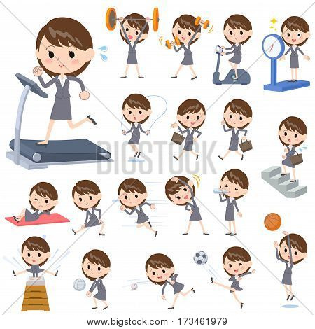 Set of various poses of Gray suit business woman Sports & exercise
