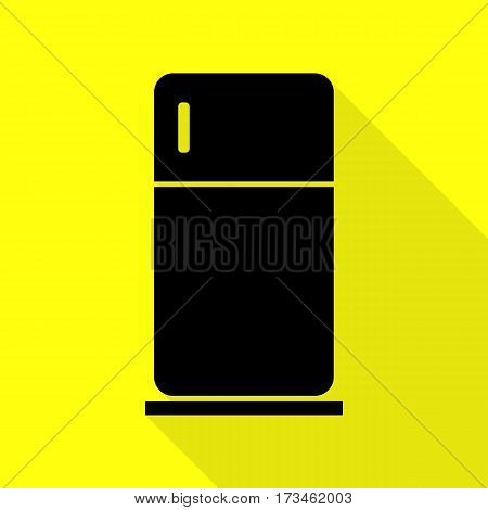 Refrigerator sign illustration. Black icon with flat style shadow path on yellow background.