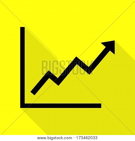 Growing bars graphic sign. Black icon with flat style shadow path on yellow background.