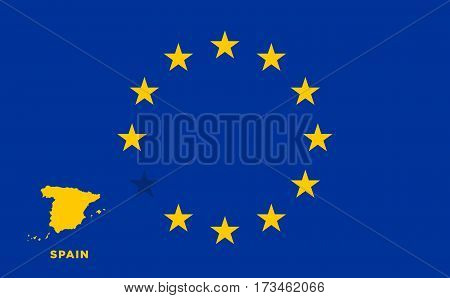 Referendum of the Spain membership of the European Union. EU flag with the country of Spain. The concept of leaving EU. Vector illustration