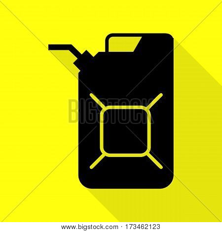 Jerrycan oil sign. Jerry can oil sign. Black icon with flat style shadow path on yellow background.