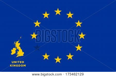 Referendum of the United Kingdom membership of the European Union. EU flag with the country of United Kingdom. The concept of leaving EU. Vector illustration