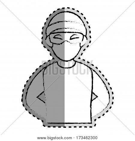 sticker monochrome blurred of criminal hacker vector illustration