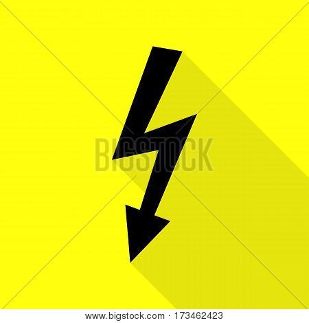 High voltage danger sign. Black icon with flat style shadow path on yellow background.