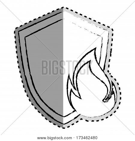 sticker monochrome blurred of shield with flame vector illustration