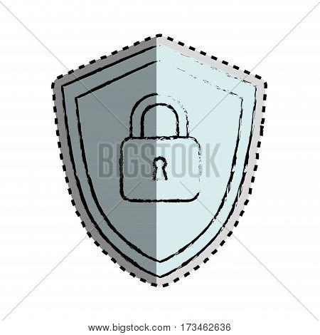 sticker monochrome blurred of shield with padlock vector illustration