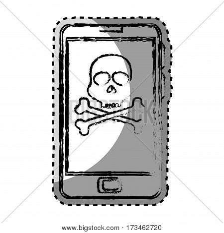 sticker monochrome blurred with with cell phone with virus skull and bones vector illustration