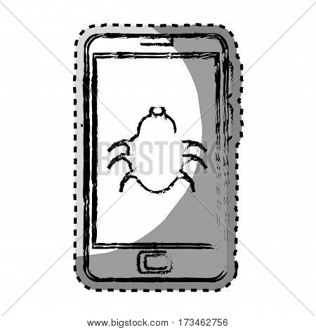 sticker monochrome blurred with cell phone with virus beetle vector illustration