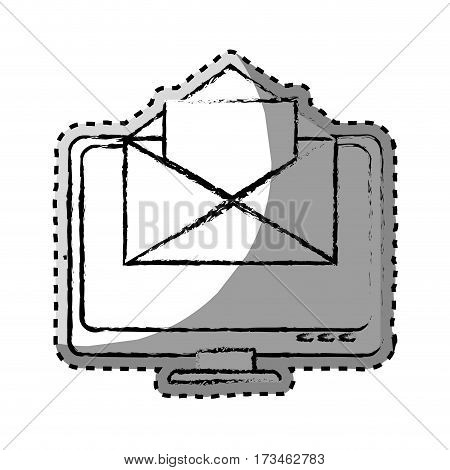 sticker monochrome blurred with with lcd monitor and envelope mail on screen vector illustration