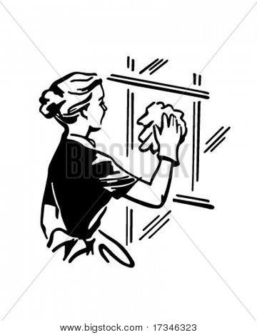Woman Cleaning Window - Retro Clip Art
