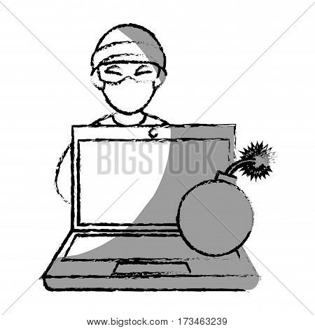 monochrome blurred contour with hacker and laptop and bomb vector illustration