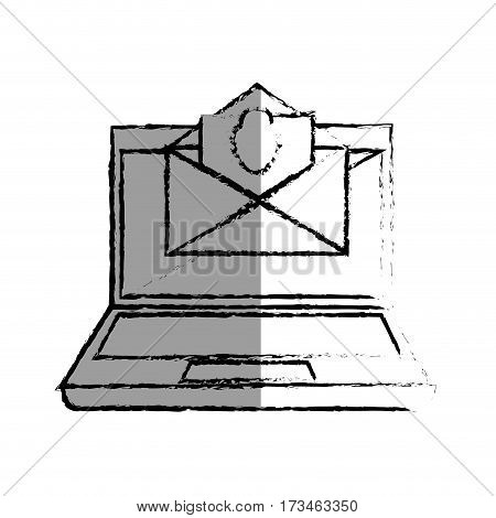 monochrome blurred contour with laptop computer and virus mail vector illustration