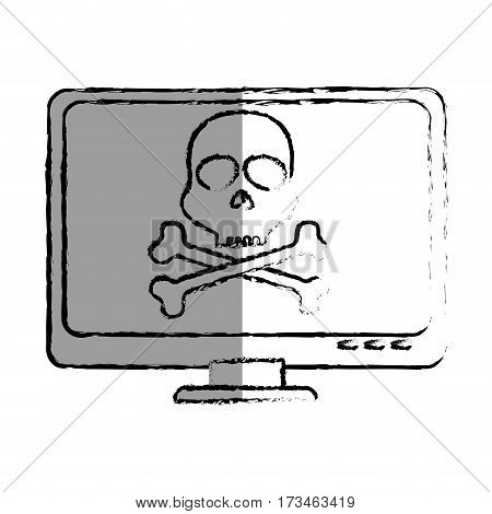 monochrome blurred contour with lcd monitor with virus skull and bones on screen vector illustration