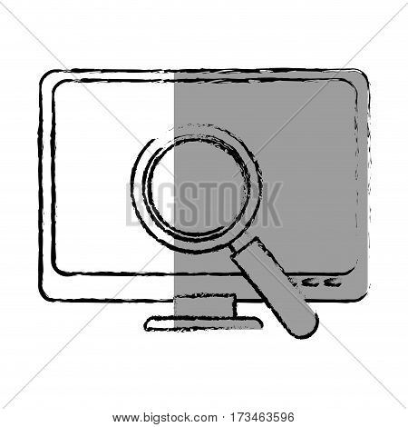 monochrome blurred contour with lcd monitor and virus scanning vector illustration