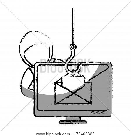monochrome blurred contour with hacker stealing mail information vector illustration