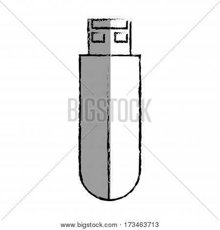 monochrome blurred contour with usb stick vector illustration
