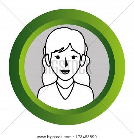 color frame with monochrome contour of half body woman with wavy hair vector illustration