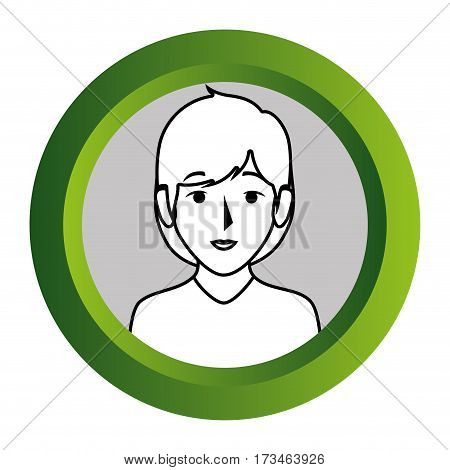 color frame with monochrome contour of half body woman with short hair vector illustration