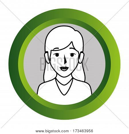 color frame with monochrome contour of half body woman with long hair vector illustration