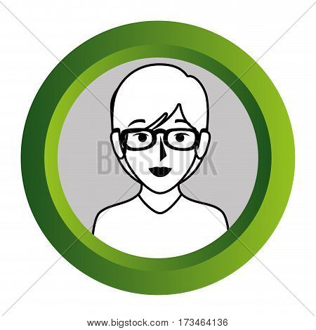 color frame with monochrome contour of half body woman with short hair and glasses vector illustration