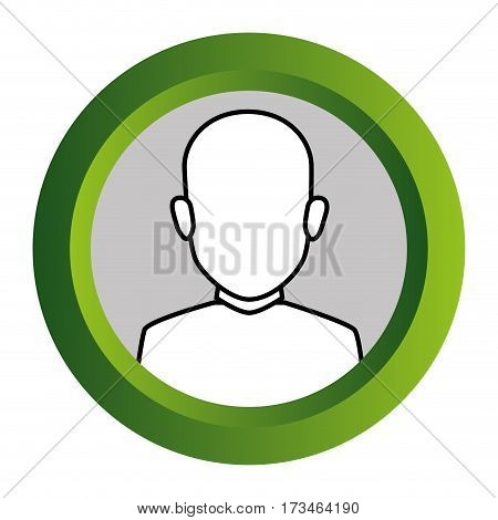 color frame with monochrome contour of faceless half body brunette bald man vector illustration