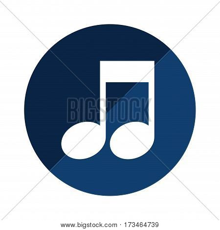 blue circular emblem with musical note vector illustration
