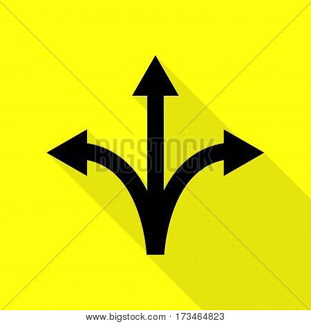 Three-way direction arrow sign. Black icon with flat style shadow path on yellow background.