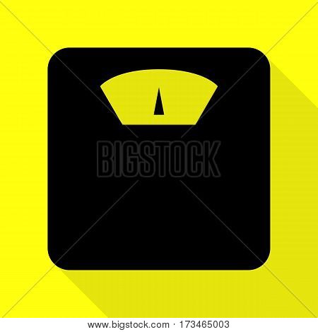 Bathroom scale sign. Black icon with flat style shadow path on yellow background.