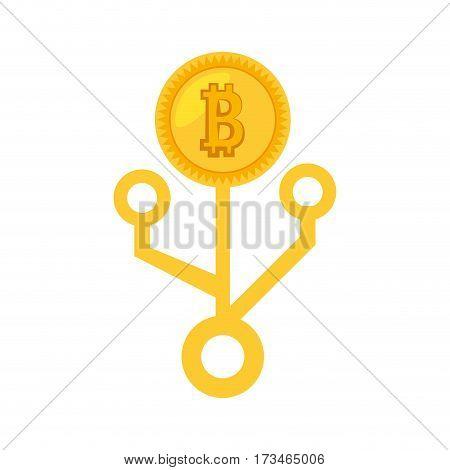 money bitcoin golden virtual vector illustration eps 10