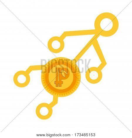 peercoin money golden virtual vector illustration eps 10