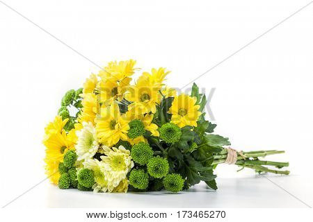 Bouquet of fresh spring flowers. Isolated on a white background