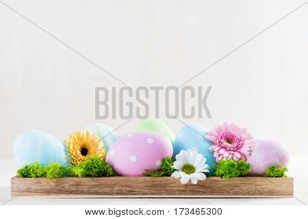 Easter decoration - eggs and flowers on a wood. White copyspace