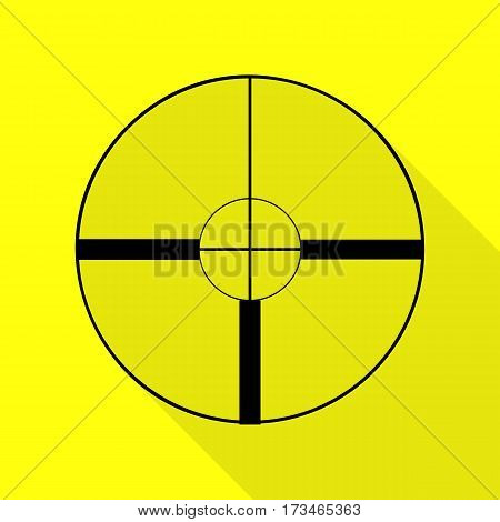 Sight sign illustration. Black icon with flat style shadow path on yellow background.