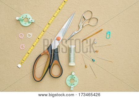 Basic Crocheting Tools Flat Lay