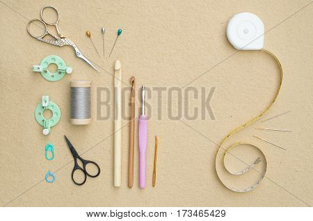 Set Of Basic Crocheting And Sewing Tools