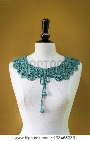 Handcrafted Woolen Green Crochet Collar On Headless Mannequin
