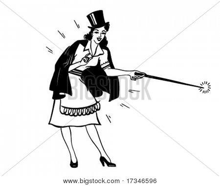Lady Magician - Retro Clipart Illustration