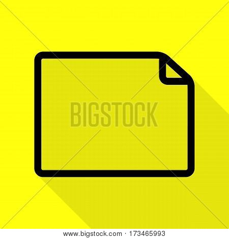 Horisontal document sign illustration. Black icon with flat style shadow path on yellow background.