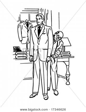 Man Being Fitted For Suit - Retro Clipart Illustration