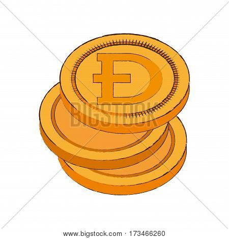 dogecoin cryptocurrency stack icon vector illustration eps 10